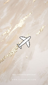 Story template by @ilse.zwart Instagram Highlights Heart Golden Marble Airplane Travel Passport Palm